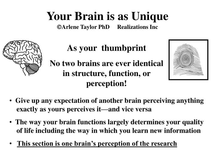 Your brain is as unique arlene taylor phd realizations inc