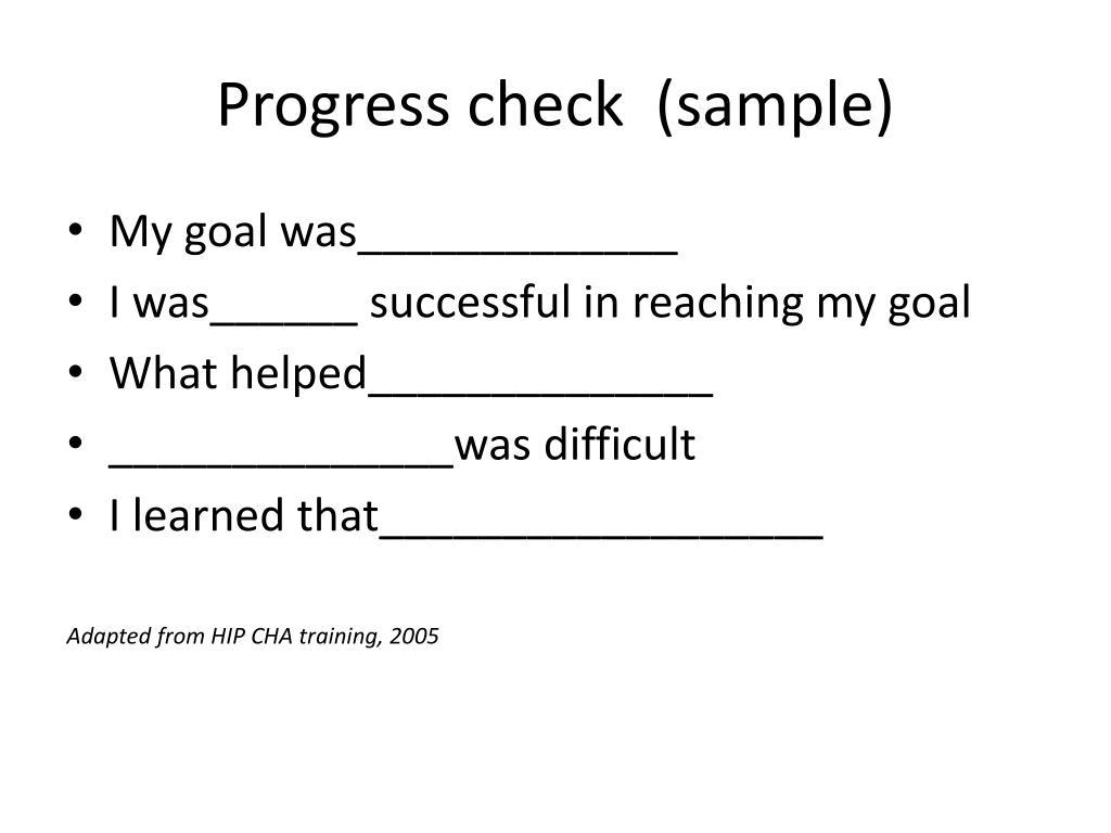 Progress check  (sample)