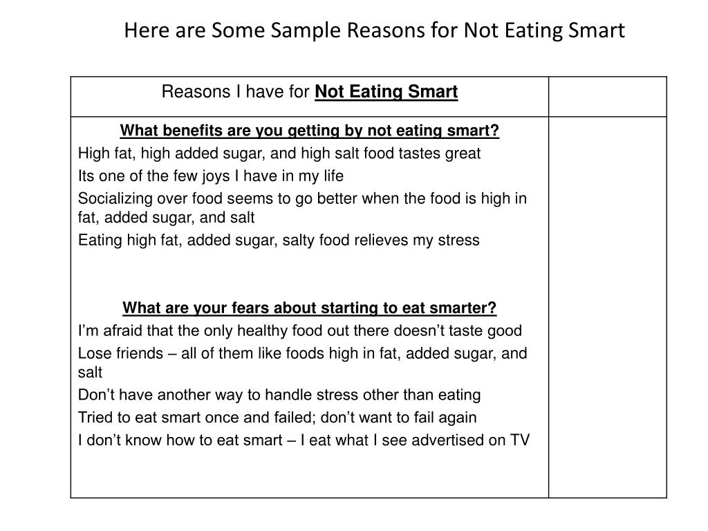 Here are Some Sample Reasons for Not Eating Smart