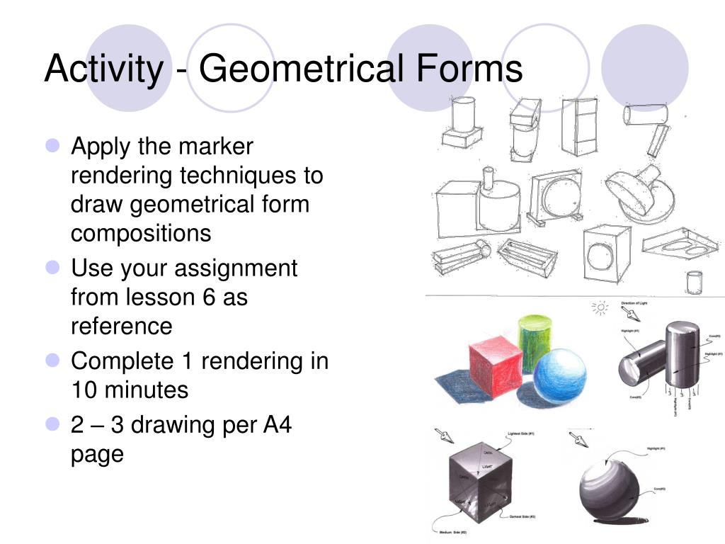 Apply the marker rendering techniques to draw geometrical form compositions