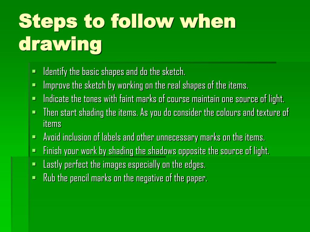 Steps to follow when drawing