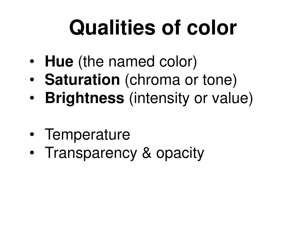 Qualities of color
