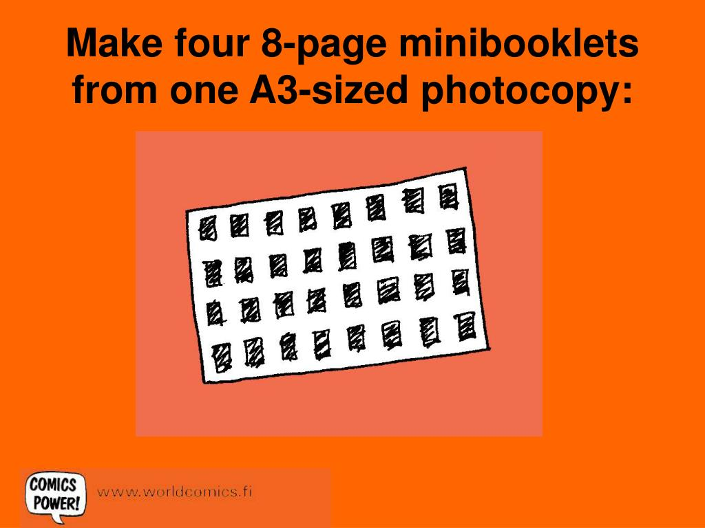 make four 8 page minibooklets from one a3 sized photocopy l.