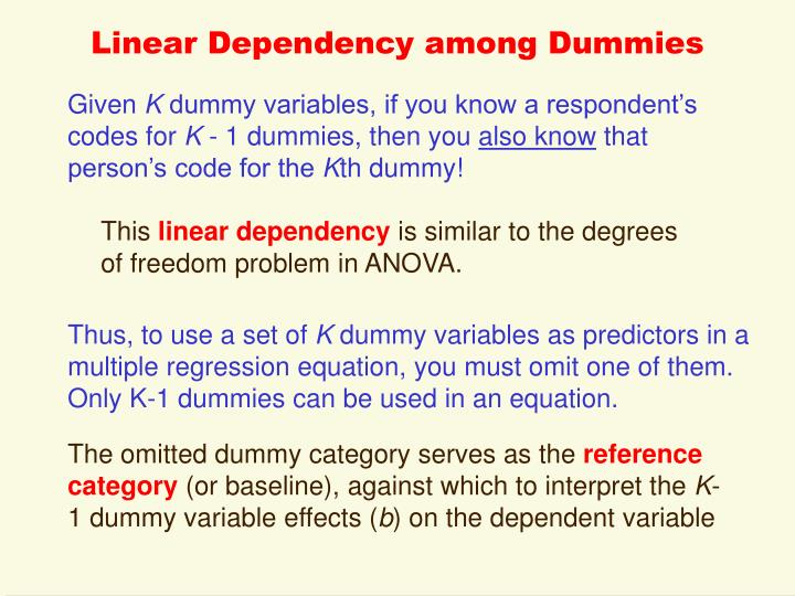 Linear Dependency among Dummies