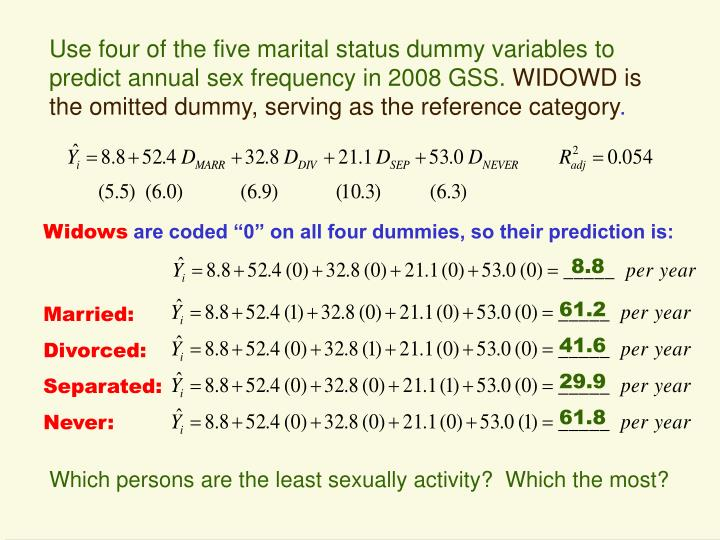 Use four of the five marital status dummy variables to predict annual sex frequency in 2008 GSS.