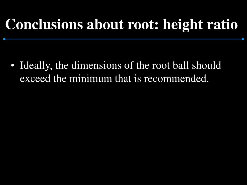 Conclusions about root: height ratio