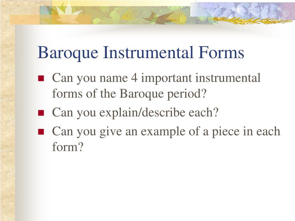 Baroque Instrumental Forms
