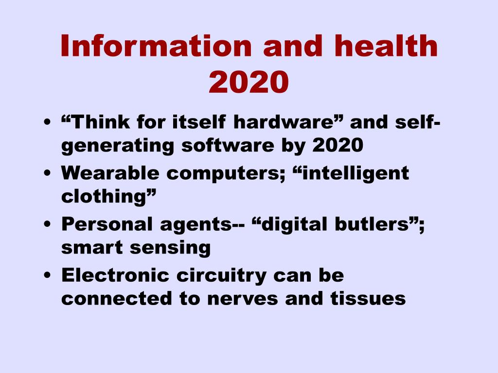 Information and health 2020