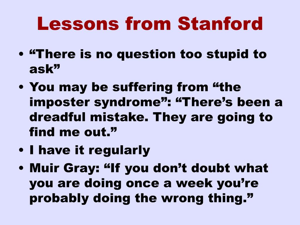 Lessons from Stanford