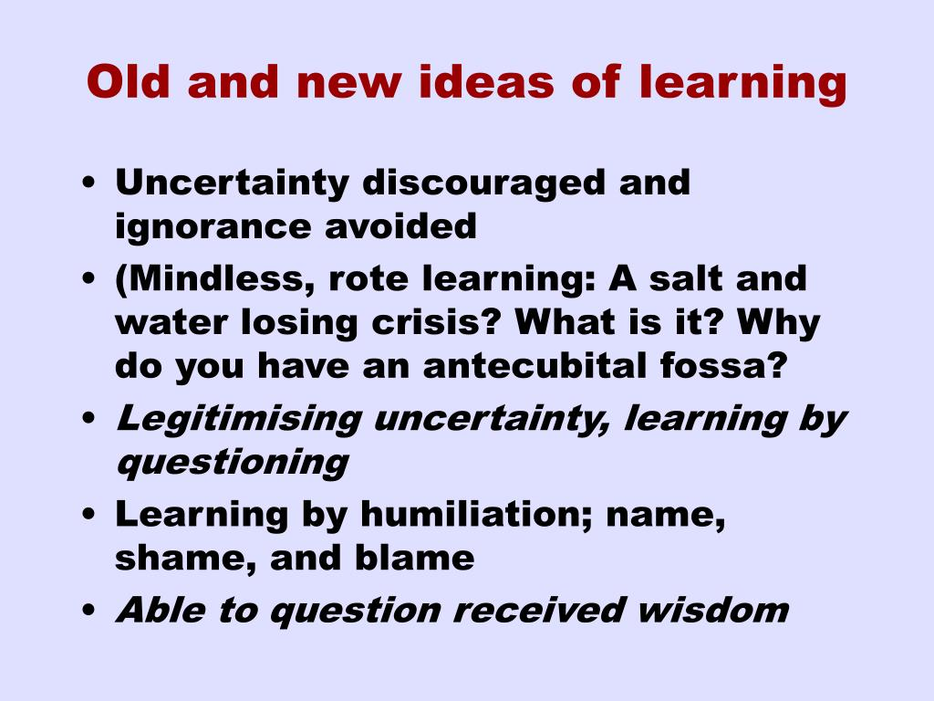 Old and new ideas of learning