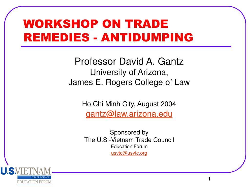 workshop on trade remedies antidumping l.