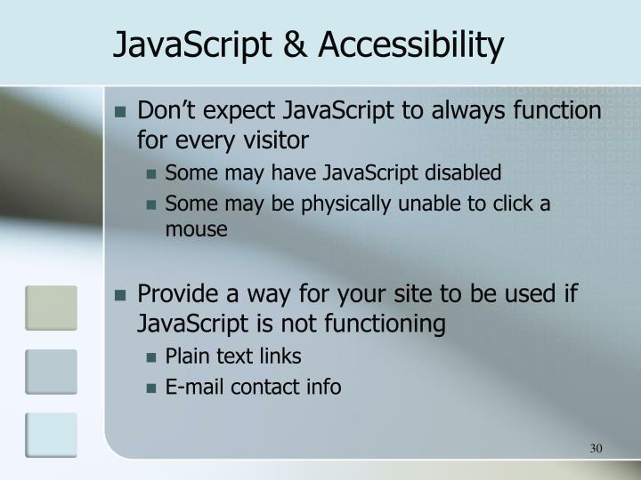 JavaScript & Accessibility