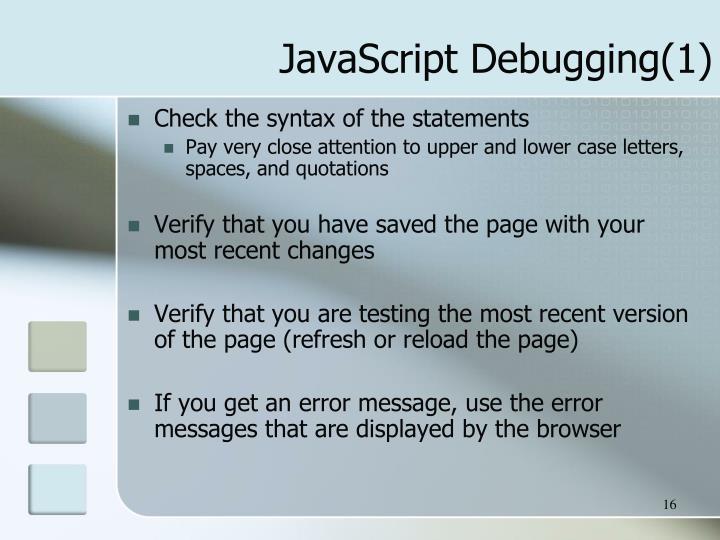 JavaScript Debugging(1)