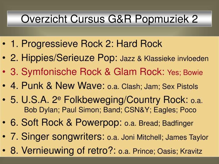 Overzicht Cursus G&R Popmuziek 2