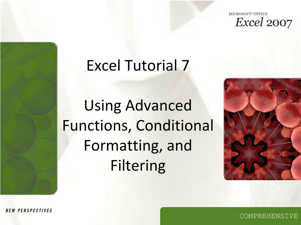 excel tutorial 7 using advanced functions conditional formatting and filtering l.