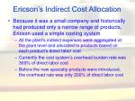ericson s indirect cost allocation