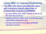 using abc to improve profitability