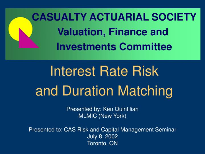 interest rate risk and duration matching n.