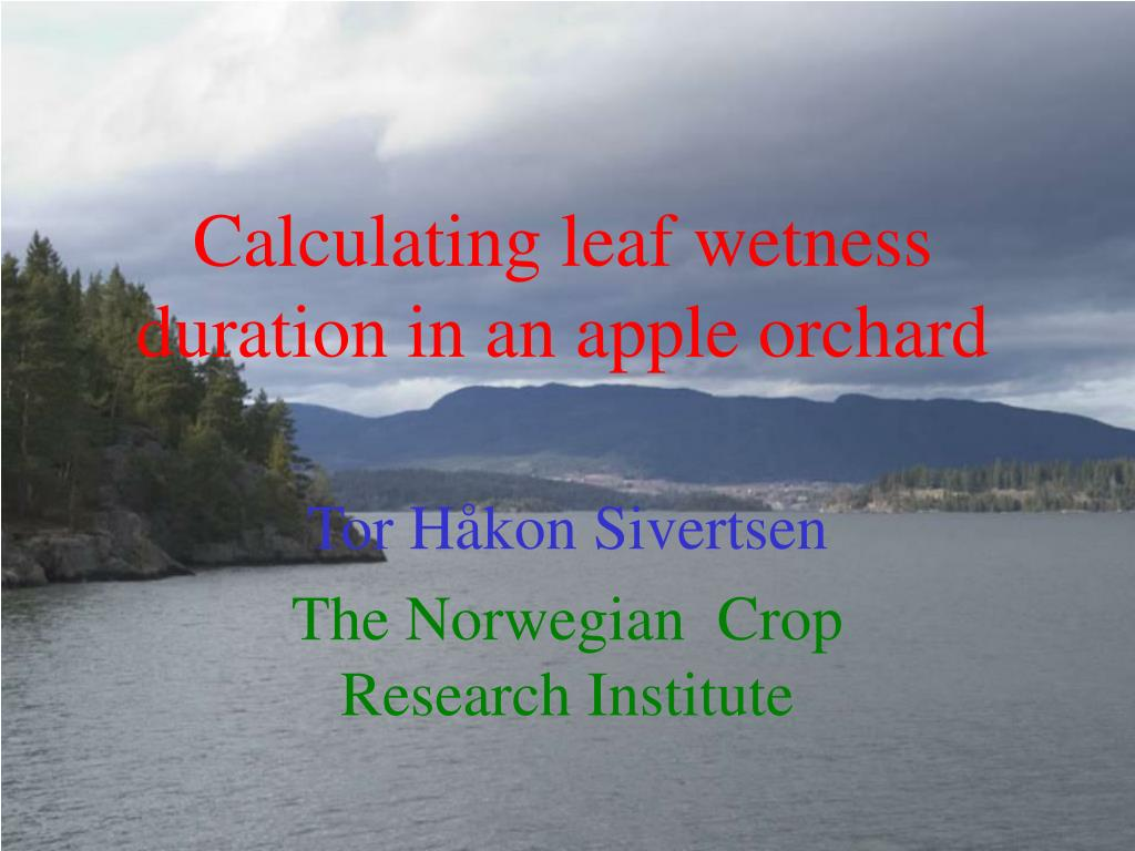 calculating leaf wetness duration in an apple orchard l.