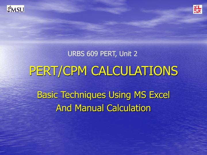 pert cpm calculations n.