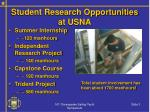 student research opportunities at usna