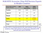 with wto accession china will increase exports to member countries