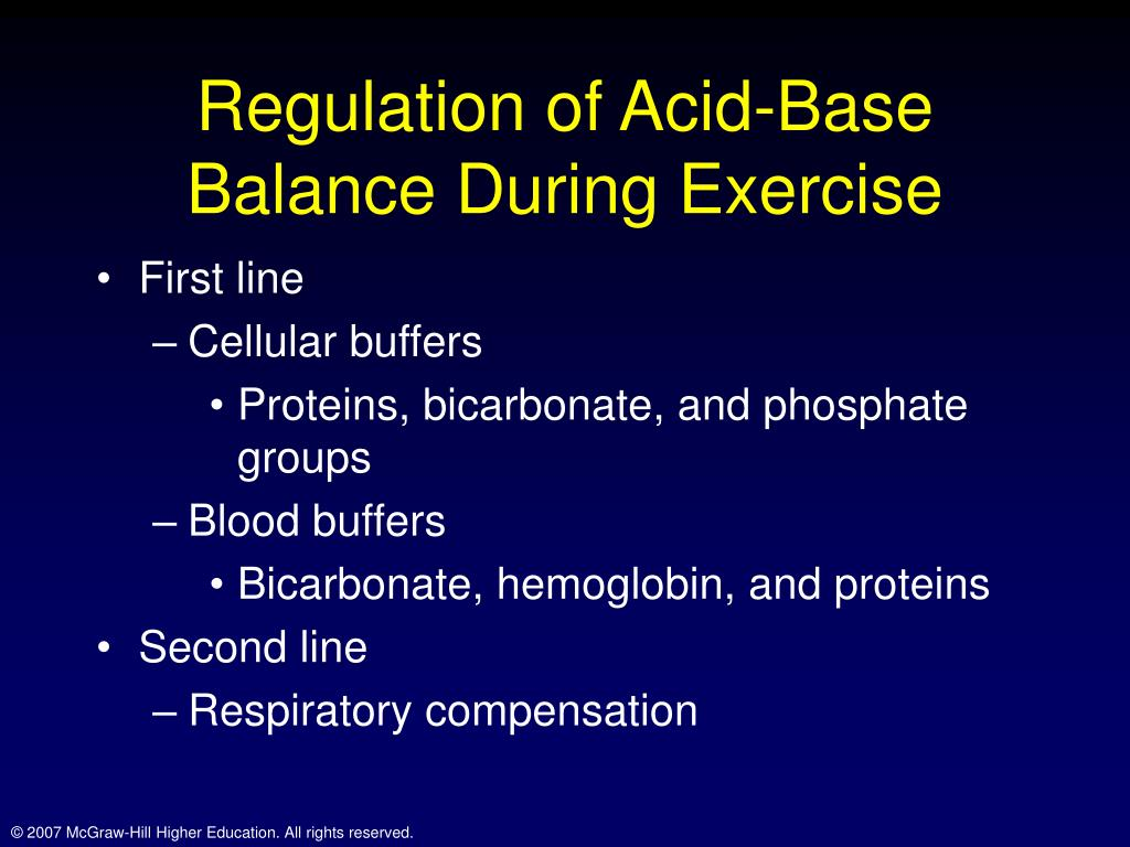 exercise 10 acid base balance Effects on exercise response, fluid and acid-base balance of protein intake from forage-only diets in standardbred horses.