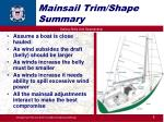 mainsail trim shape summary