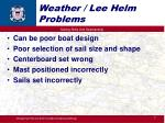 weather lee helm problems