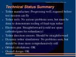 technical status summary