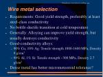 wire metal selection