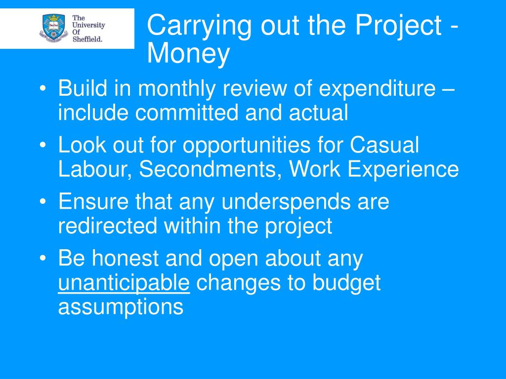 Carrying out the Project - Money