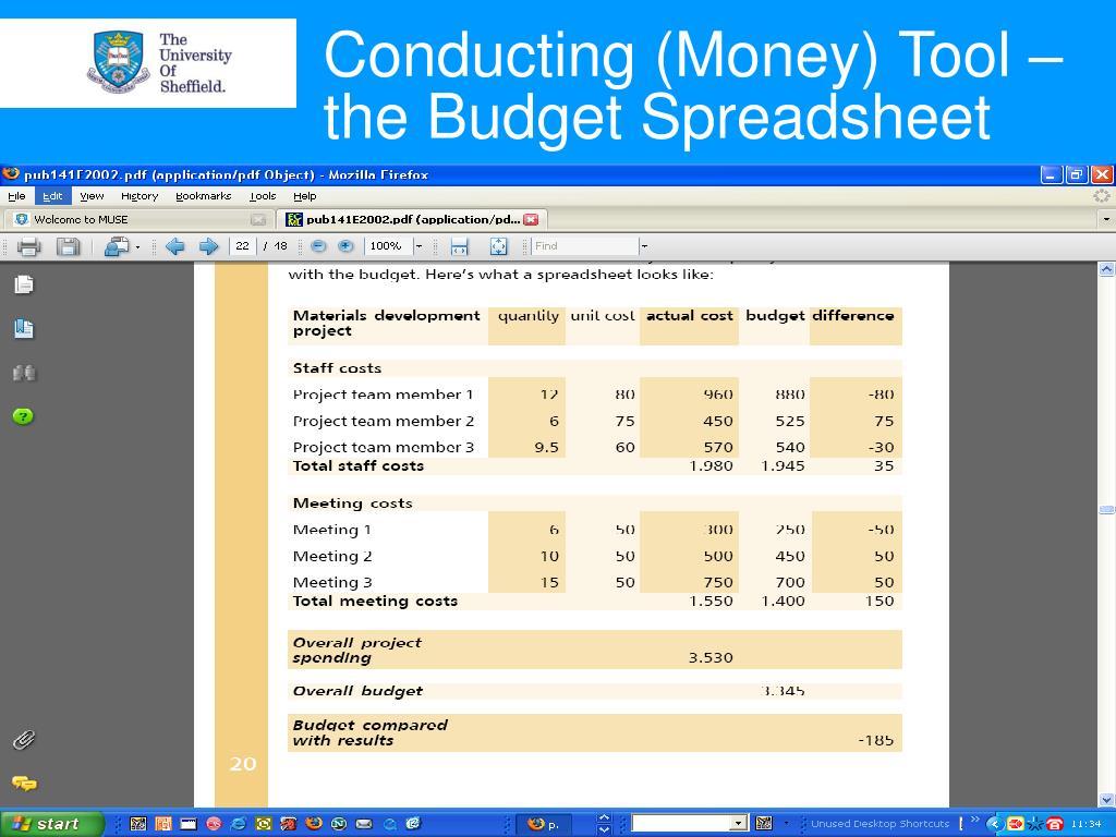 Conducting (Money) Tool – the Budget Spreadsheet