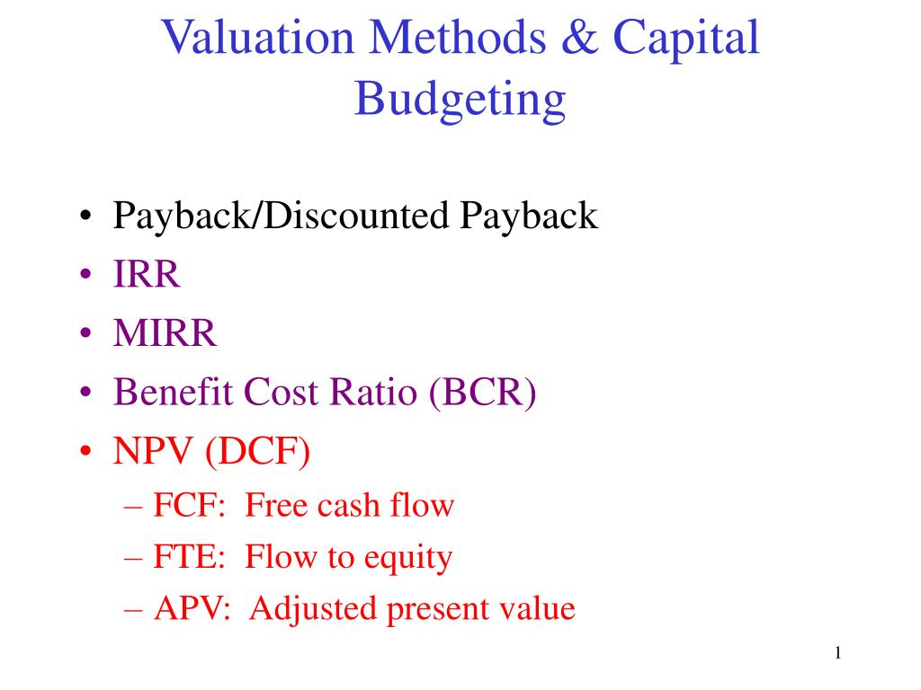 valuation methods capital budgeting l.