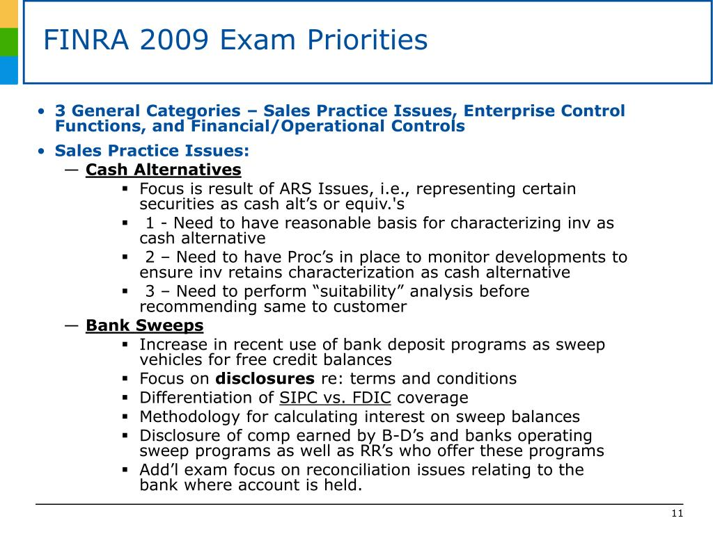 FINRA 2009 Exam Priorities