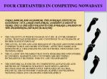 four certainties in competing nowadays