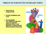 threat of substitutes increases when