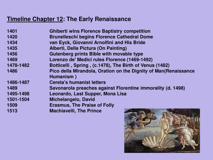 Timeline chapter 12