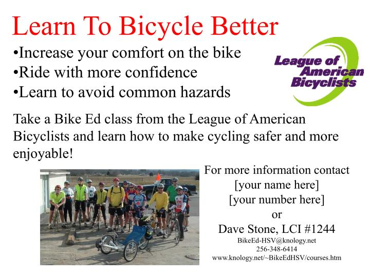 Learn To Bicycle Better