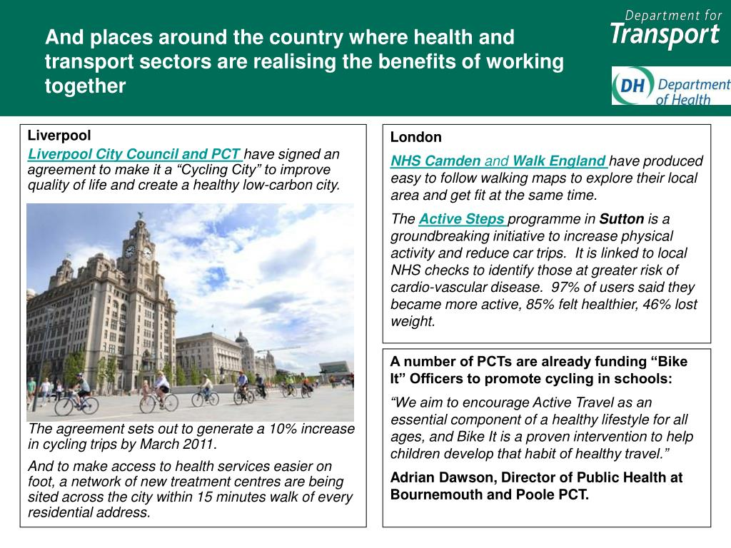 And places around the country where health and transport sectors are realising the benefits of working together