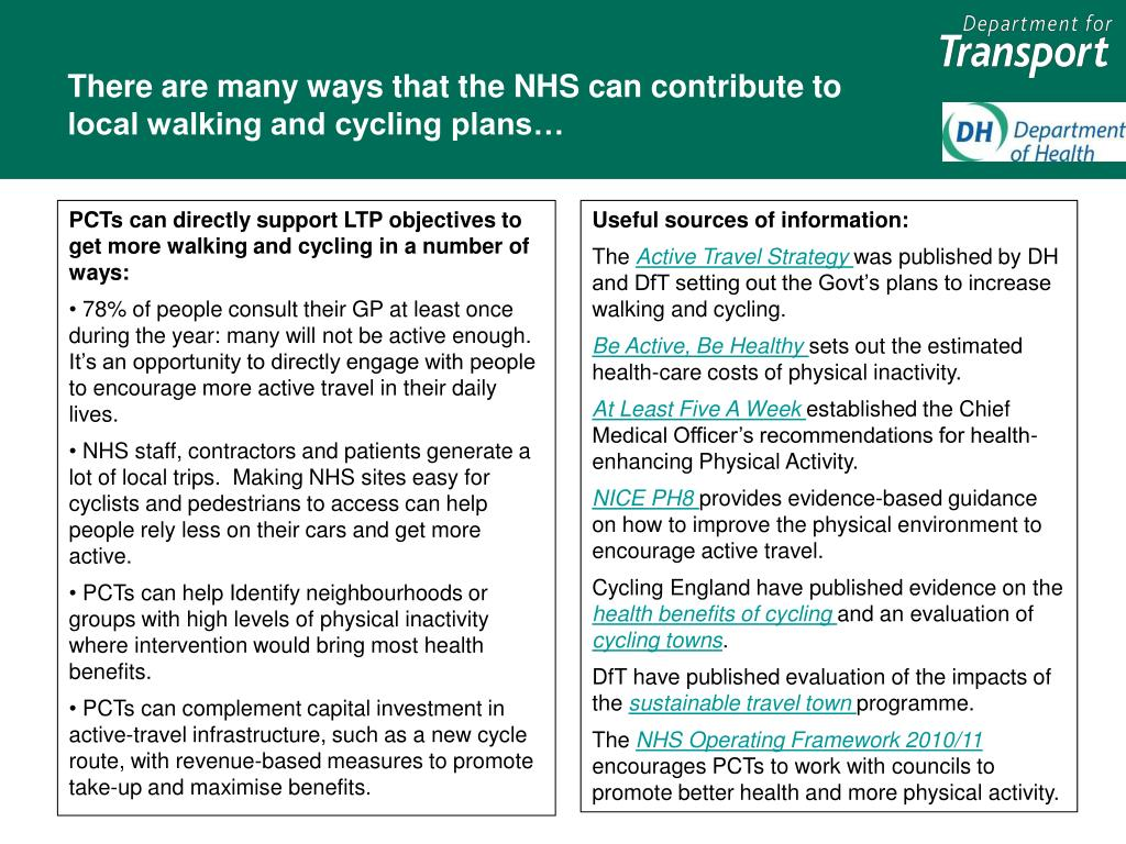 There are many ways that the NHS can contribute to local walking and cycling plans…