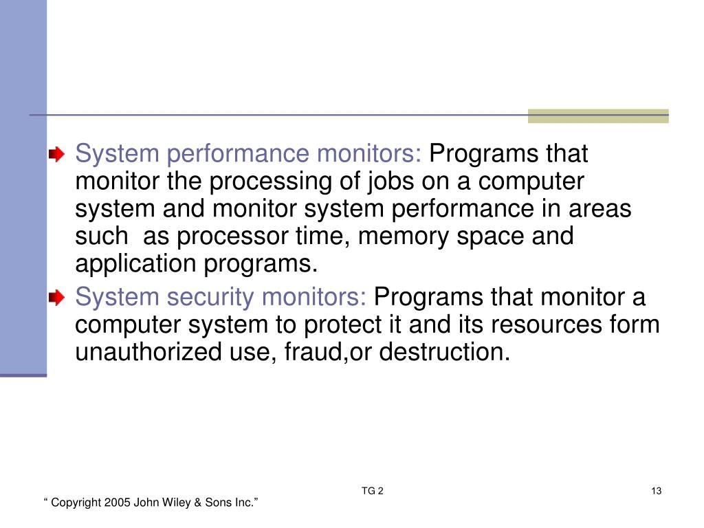 System performance monitors: