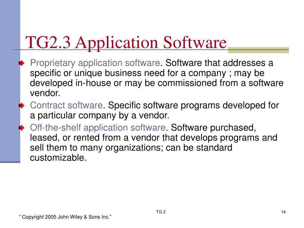 TG2.3 Application Software