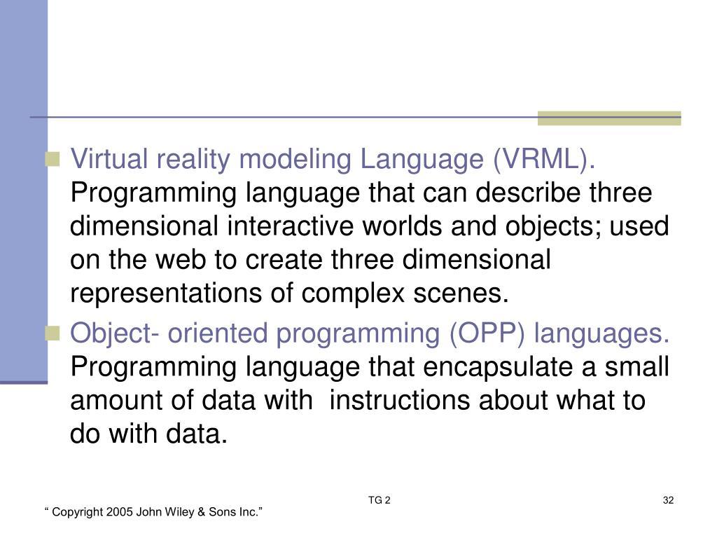 Virtual reality modeling Language (VRML).