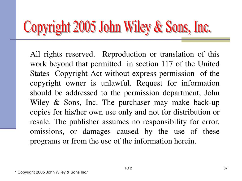 All rights reserved.  Reproduction or translation of this  work beyond that permitted  in section 117 of the United States  Copyright Act without express permission  of the copyright owner is unlawful. Request for information should be addressed to the permission department, John Wiley & Sons, Inc. The purchaser may make back-up copies for his/her own use only and not for distribution or resale. The publisher assumes no responsibility for error, omissions, or damages caused by the use of these programs or from the use of the information herein.
