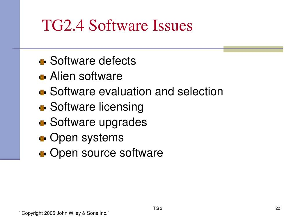 TG2.4 Software Issues