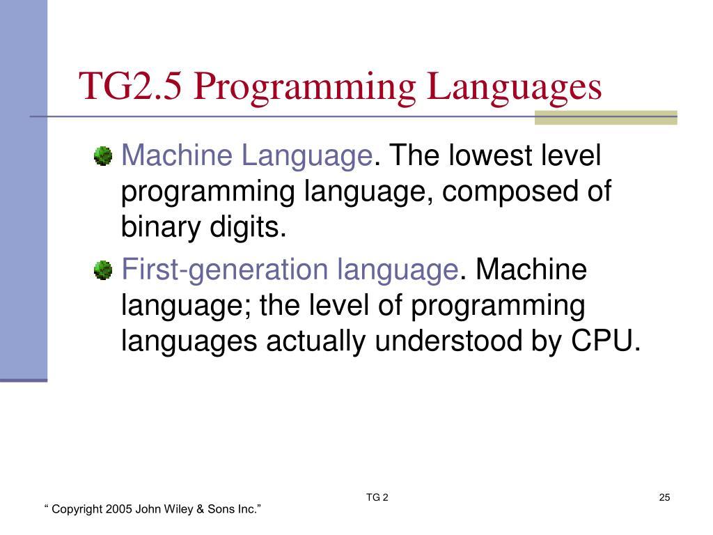 TG2.5 Programming Languages