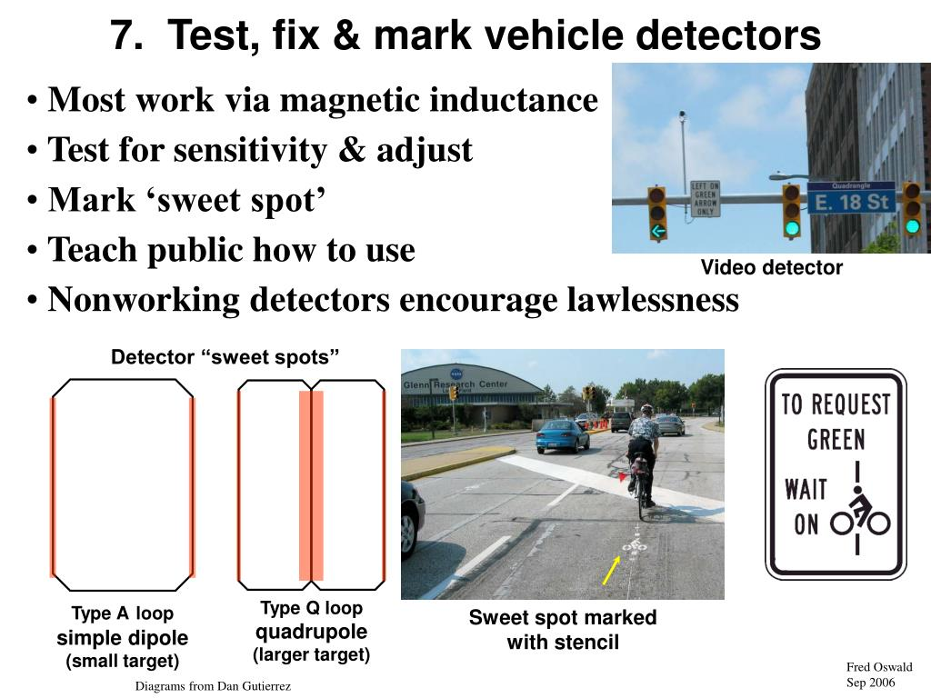 7.  Test, fix & mark vehicle detectors