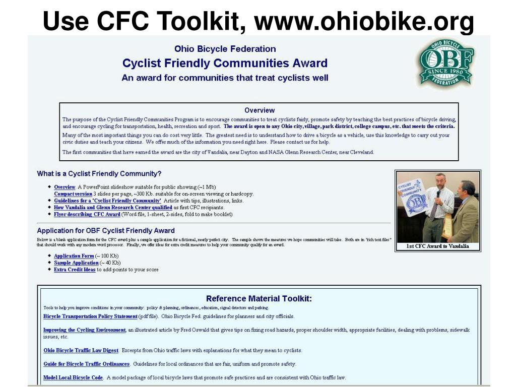Use CFC Toolkit, www.ohiobike.org