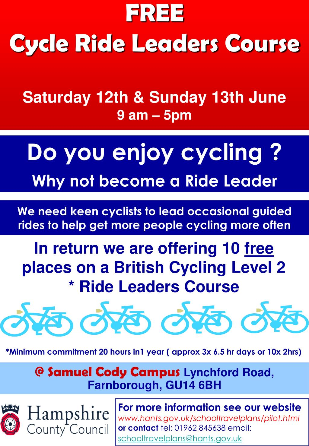 free cycle ride leaders course saturday 12th sunday 13th june 9 am 5pm l.